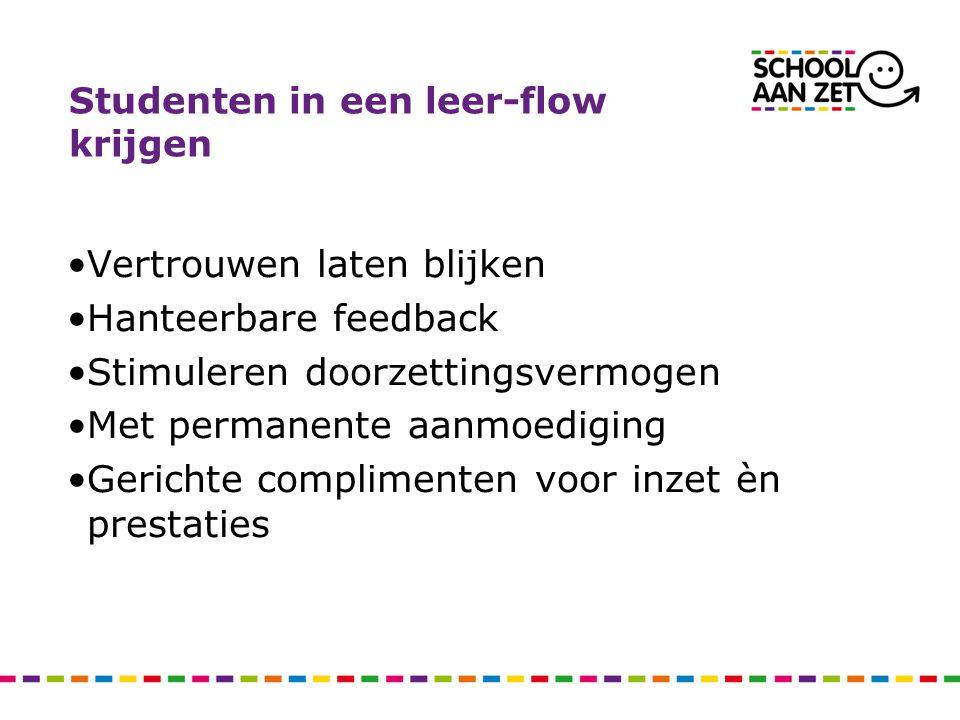 Studenten in een leer-flow krijgen Vertrouwen laten blijken Hanteerbare feedback Stimuleren doorzettingsvermogen Met permanente aanmoediging Gerichte