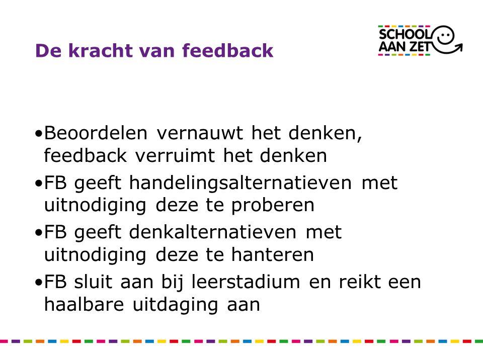 De kracht van feedback Beoordelen vernauwt het denken, feedback verruimt het denken FB geeft handelingsalternatieven met uitnodiging deze te proberen