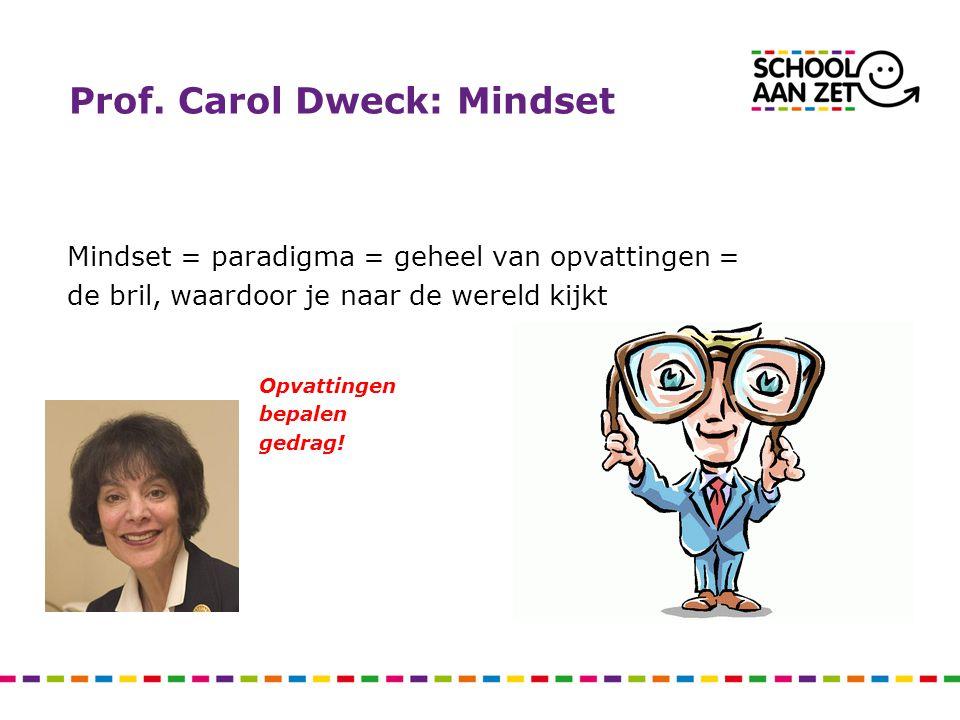 Prof. Carol Dweck: Mindset Mindset = paradigma = geheel van opvattingen = de bril, waardoor je naar de wereld kijkt Opvattingen bepalen gedrag!