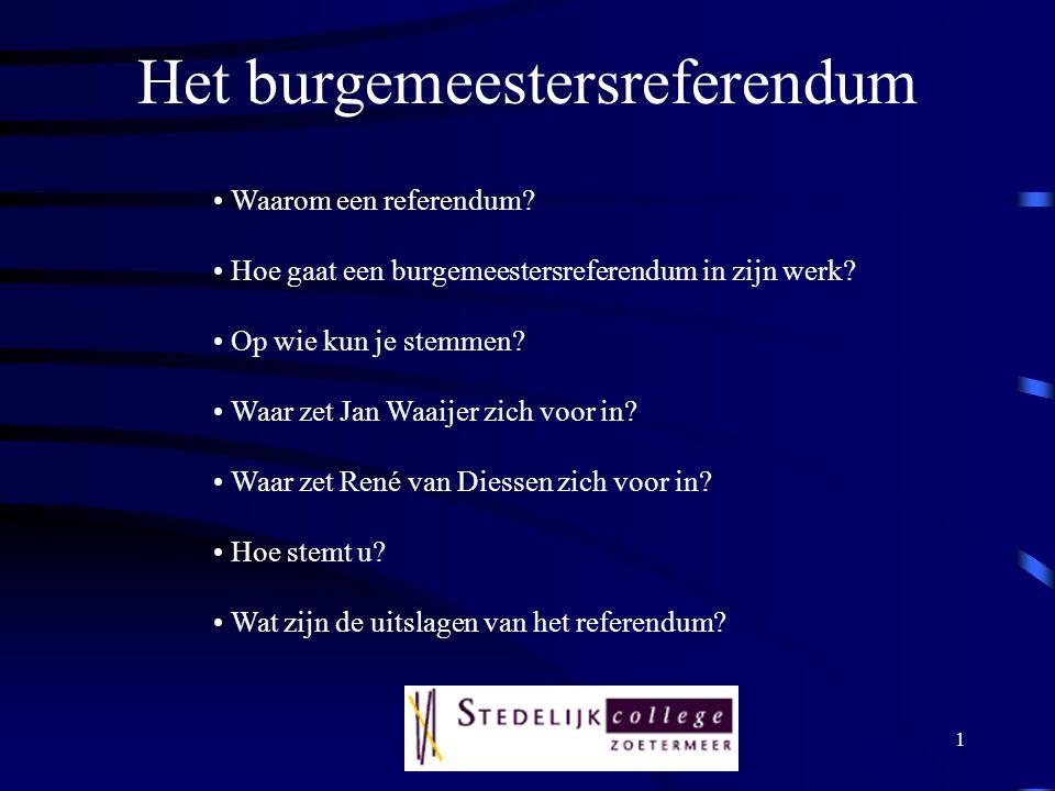 1 Het burgemeestersreferendum Waarom een referendum.