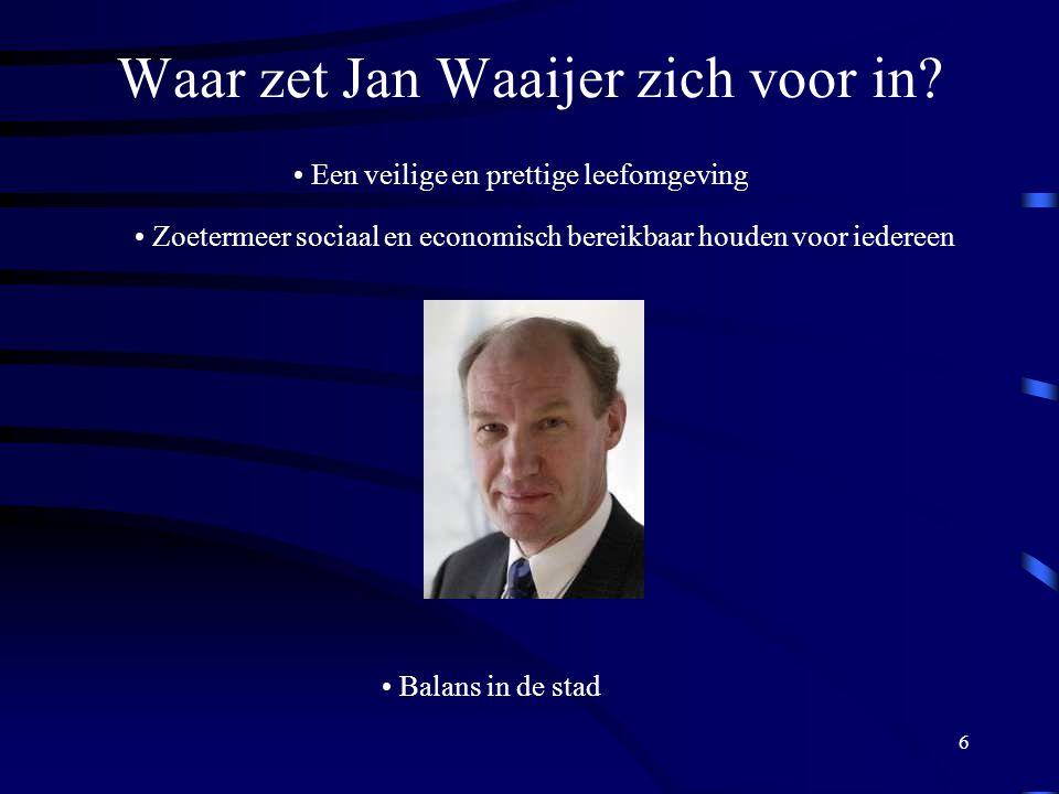 6 Waar zet Jan Waaijer zich voor in.