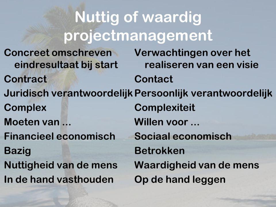 Nuttig of waardig projectmanagement Concreet omschreven eindresultaat bij start Contract Juridisch verantwoordelijk Complex Moeten van...