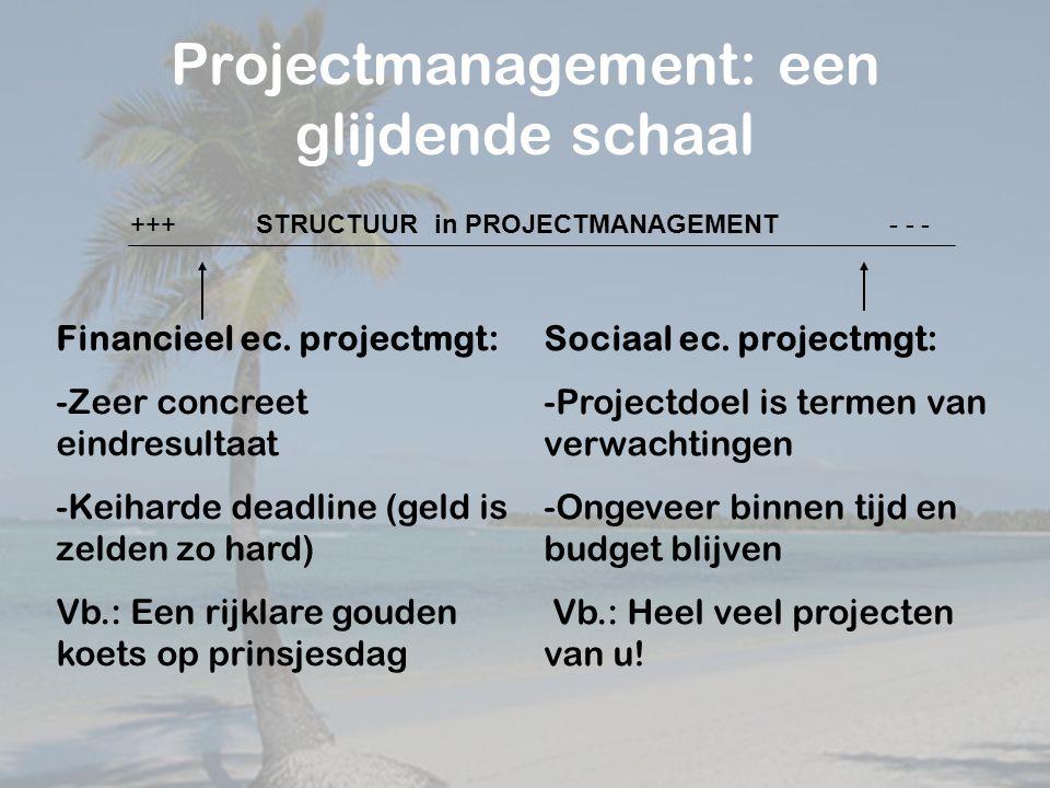Projectmanagement: een glijdende schaal Financieel ec.