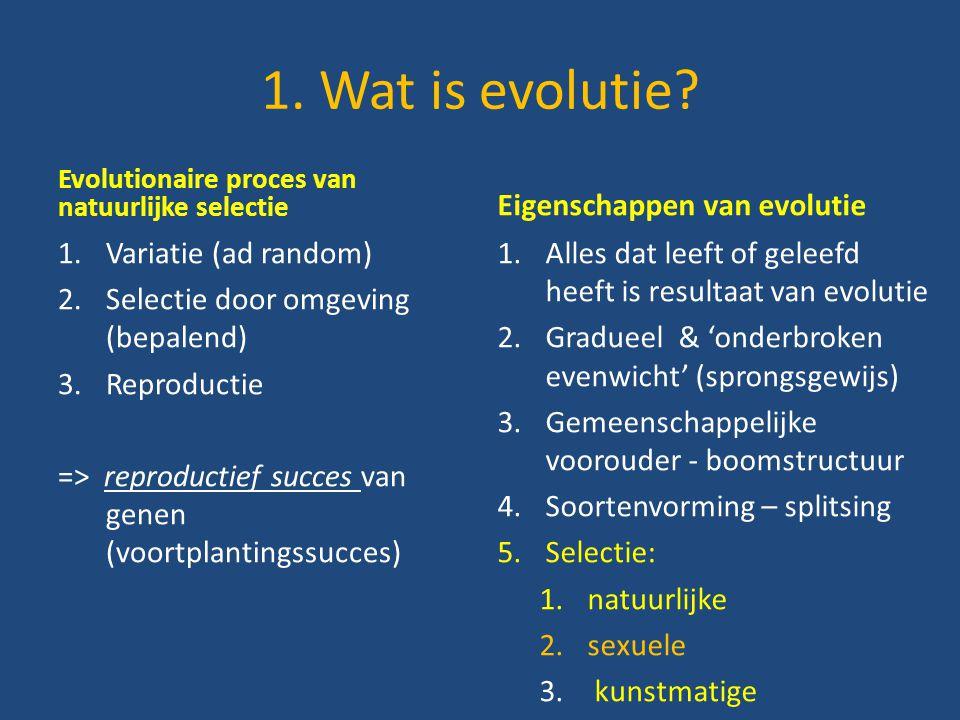 1. Wat is evolutie? Evolutionaire proces van natuurlijke selectie 1.Variatie (ad random) 2.Selectie door omgeving (bepalend) 3.Reproductie => reproduc