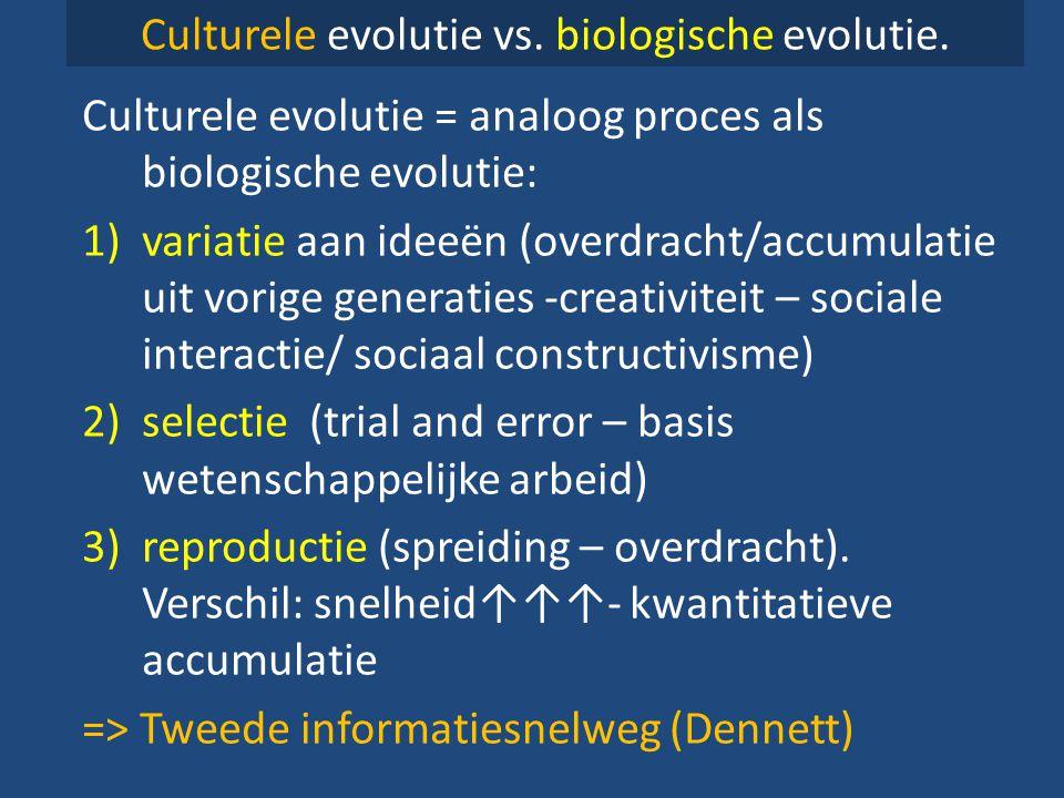 Culturele evolutie vs. biologische evolutie. Culturele evolutie = analoog proces als biologische evolutie: 1)variatie aan ideeën (overdracht/accumulat