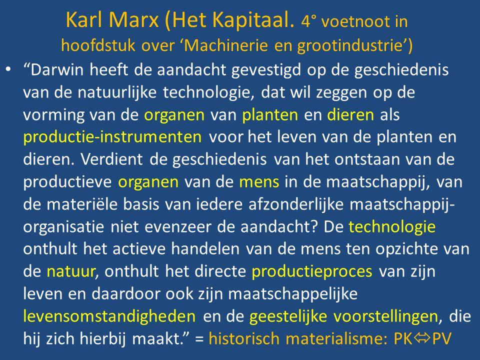 """Karl Marx (Het Kapitaal. 4° voetnoot in hoofdstuk over 'Machinerie en grootindustrie') """"Darwin heeft de aandacht gevestigd op de geschiedenis van de n"""