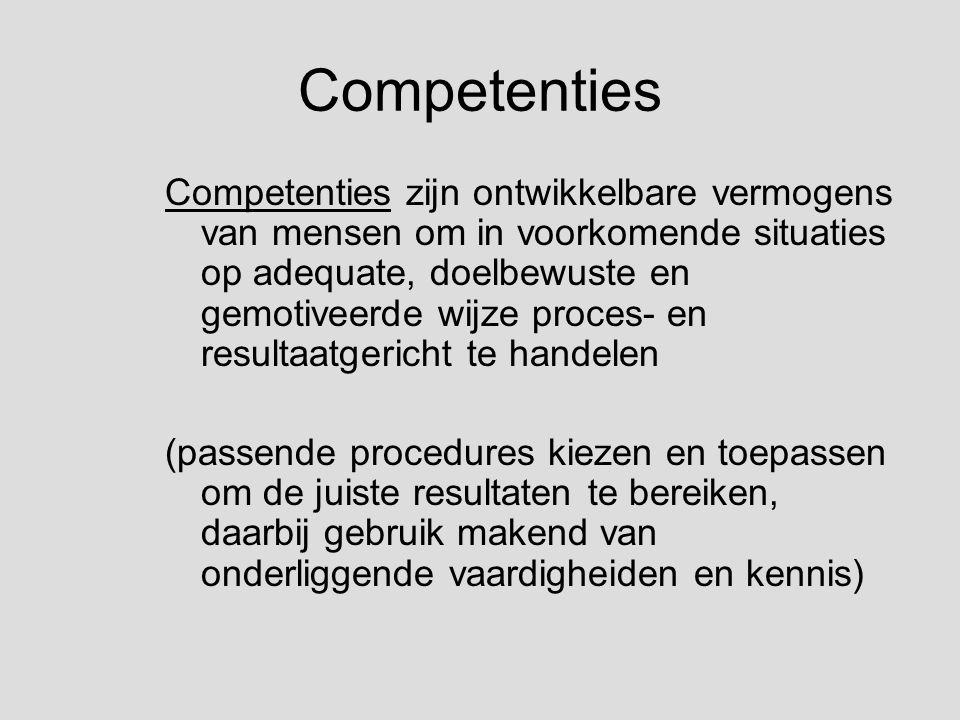 Competenties Competenties zijn ontwikkelbare vermogens van mensen om in voorkomende situaties op adequate, doelbewuste en gemotiveerde wijze proces- en resultaatgericht te handelen (passende procedures kiezen en toepassen om de juiste resultaten te bereiken, daarbij gebruik makend van onderliggende vaardigheiden en kennis)