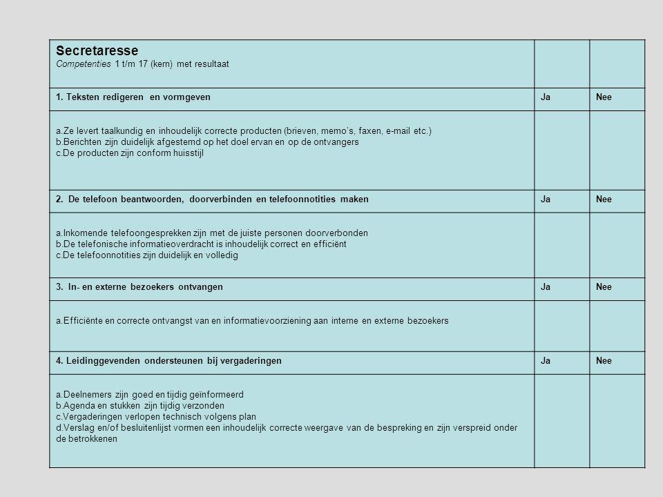 Beoordelingskader per competentie Secretaresse Competenties 1 t/m 17 (kern) met resultaat 1.