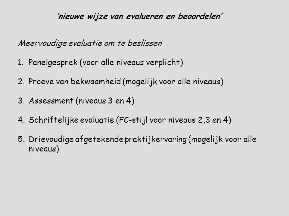 'nieuwe wijze van evalueren en beoordelen' Meervoudige evaluatie om te beslissen 1.Panelgesprek (voor alle niveaus verplicht) 2.Proeve van bekwaamheid (mogelijk voor alle niveaus) 3.Assessment (niveaus 3 en 4) 4.Schriftelijke evaluatie (FC-stijl voor niveaus 2,3 en 4) 5.Drievoudige afgetekende praktijkervaring (mogelijk voor alle niveaus)