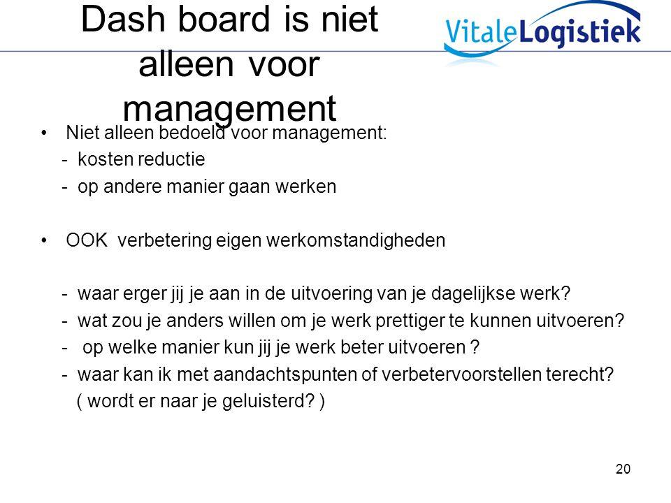 20 Dash board is niet alleen voor management Niet alleen bedoeld voor management: - kosten reductie - op andere manier gaan werken OOK verbetering eig
