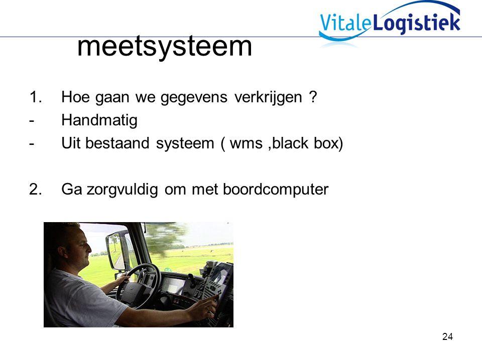 24 meetsysteem 1.Hoe gaan we gegevens verkrijgen ? -Handmatig -Uit bestaand systeem ( wms,black box) 2.Ga zorgvuldig om met boordcomputer