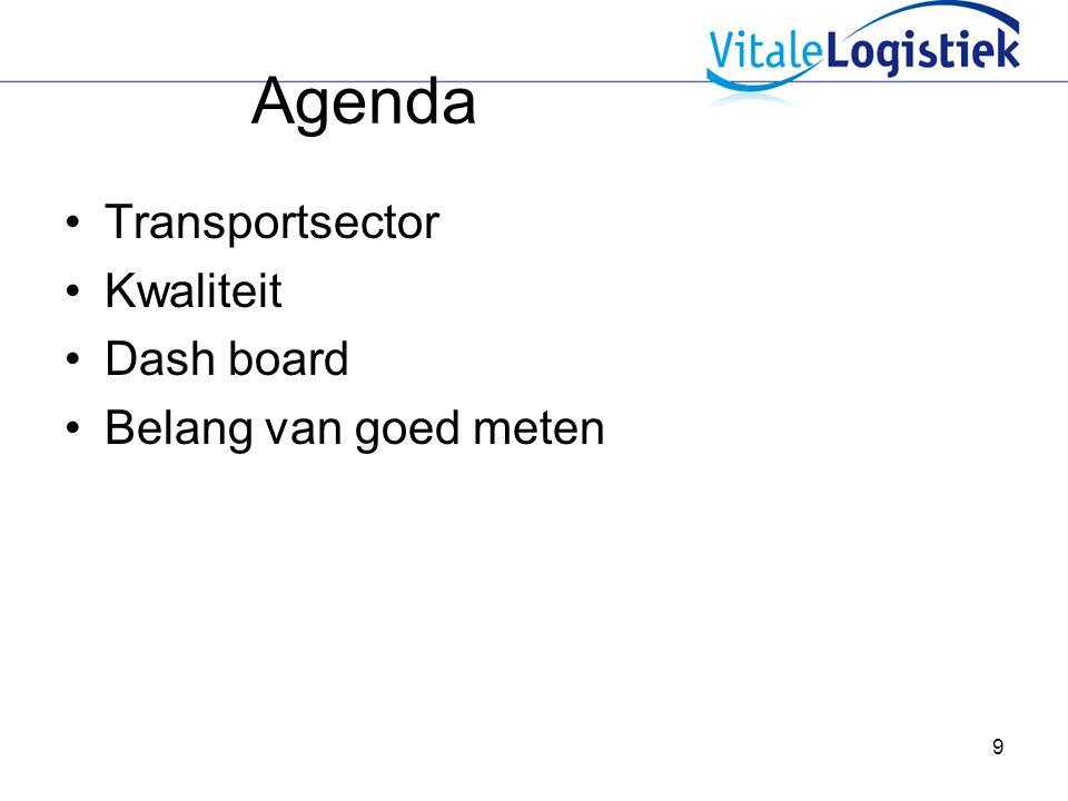 9 Agenda Transportsector Kwaliteit Dash board Belang van goed meten