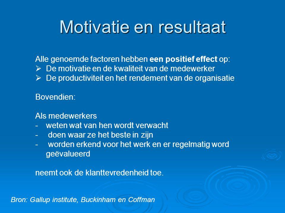 Motivatie en resultaat Alle genoemde factoren hebben een positief effect op:  De motivatie en de kwaliteit van de medewerker  De productiviteit en h