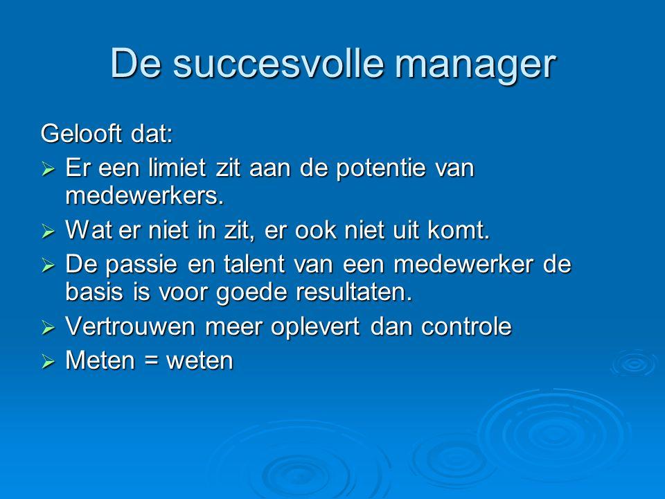 De succesvolle manager Gelooft dat:  Er een limiet zit aan de potentie van medewerkers.  Wat er niet in zit, er ook niet uit komt.  De passie en ta