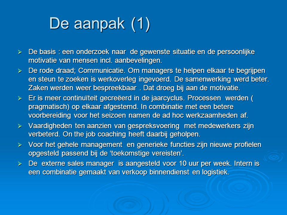  De basis : een onderzoek naar de gewenste situatie en de persoonlijke motivatie van mensen incl. aanbevelingen.  De rode draad; Communicatie. Om ma