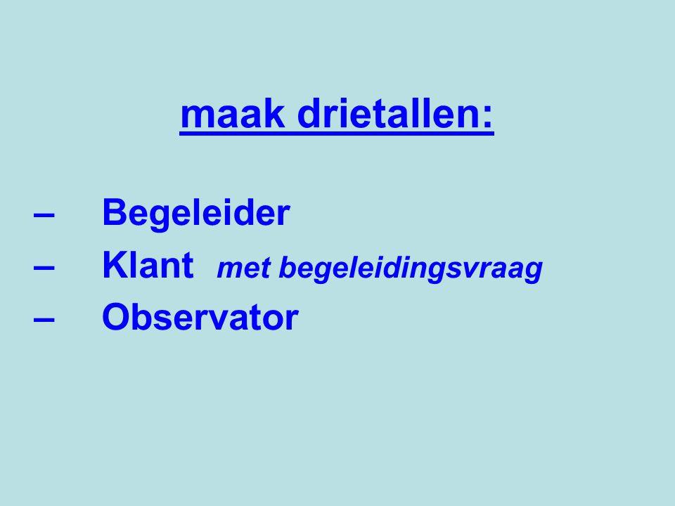 maak drietallen: –Begeleider –Klant met begeleidingsvraag –Observator