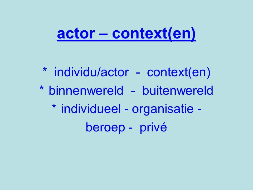 actor – context(en) * individu/actor - context(en) *binnenwereld - buitenwereld *individueel - organisatie - beroep - privé