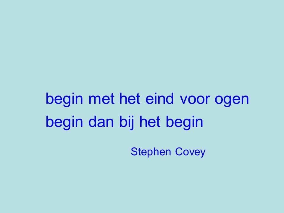 begin met het eind voor ogen begin dan bij het begin Stephen Covey