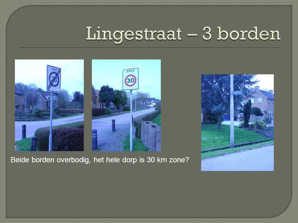 Beide borden overbodig, het hele dorp is 30 km zone?
