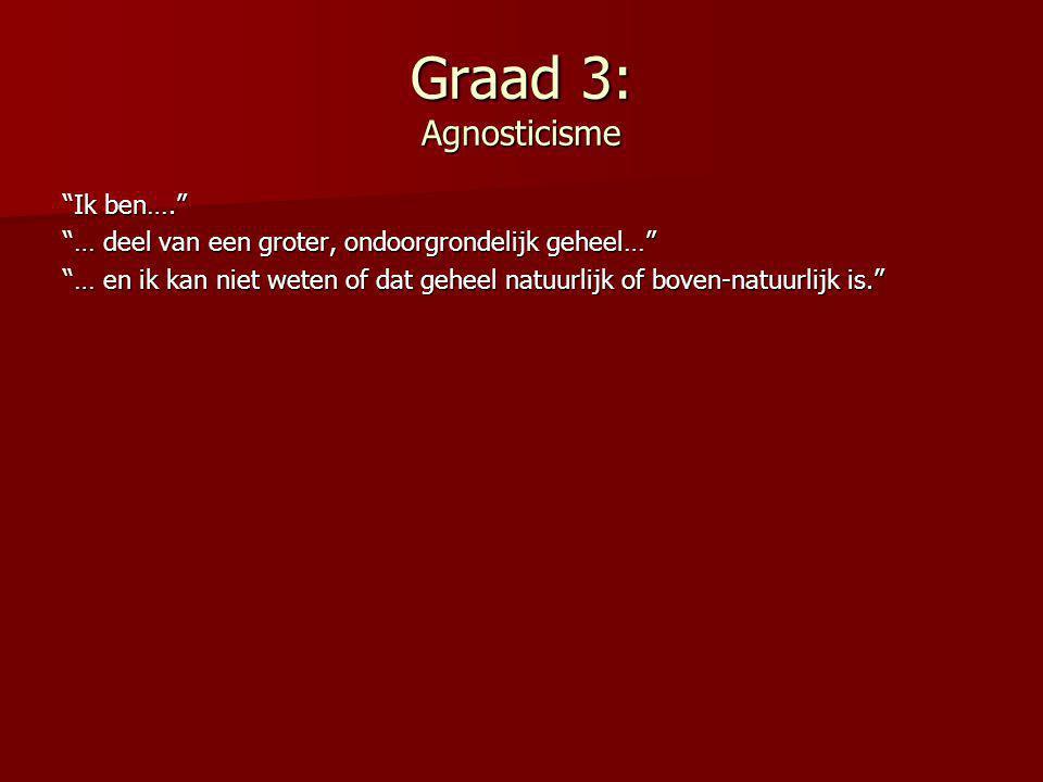 """Graad 3: Agnosticisme """"Ik ben…."""" """"… deel van een groter, ondoorgrondelijk geheel…"""" """"… en ik kan niet weten of dat geheel natuurlijk of boven-natuurlij"""