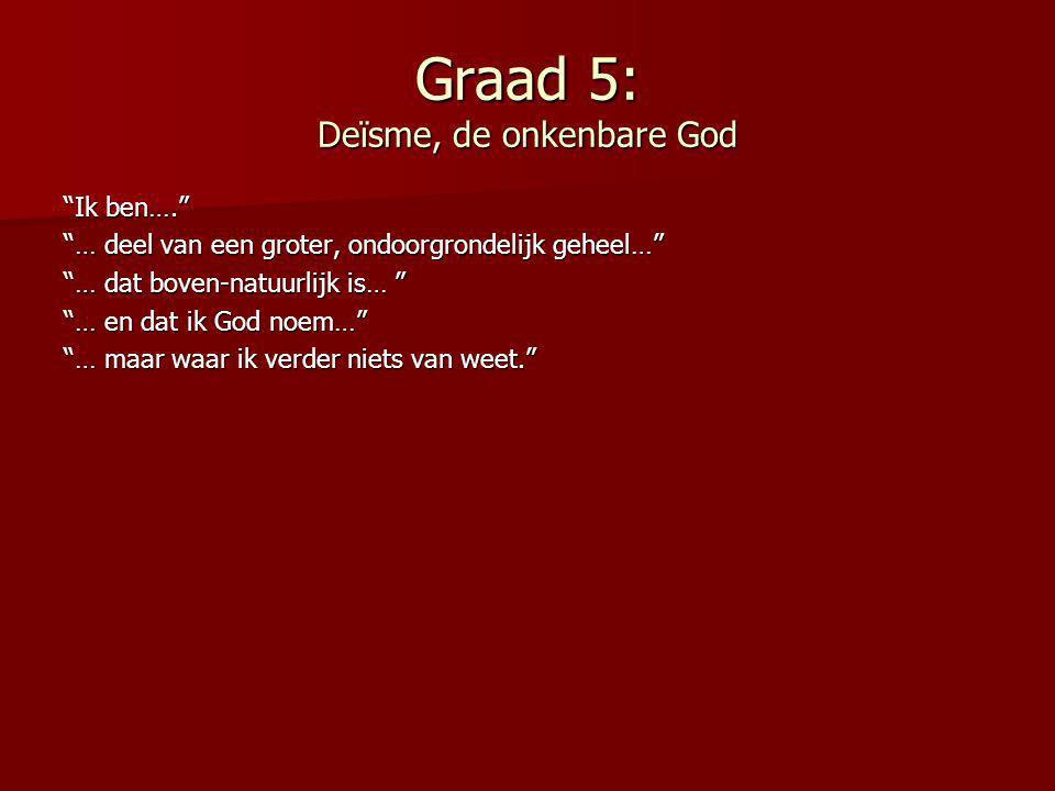 """Graad 5: Deïsme, de onkenbare God """"Ik ben…."""" """"… deel van een groter, ondoorgrondelijk geheel…"""" """"… dat boven-natuurlijk is… """" """"… en dat ik God noem…"""" """""""