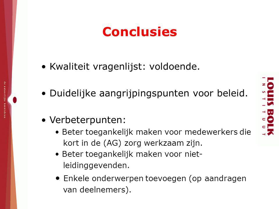 Conclusies Kwaliteit vragenlijst: voldoende. Duidelijke aangrijpingspunten voor beleid. Verbeterpunten: Beter toegankelijk maken voor medewerkers die