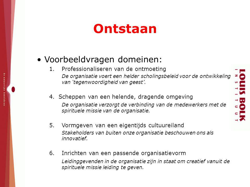 Voorbeeldvragen domeinen: 1.Professionaliseren van de ontmoeting De organisatie voert een helder scholingsbeleid voor de ontwikkeling van 'tegenwoordi