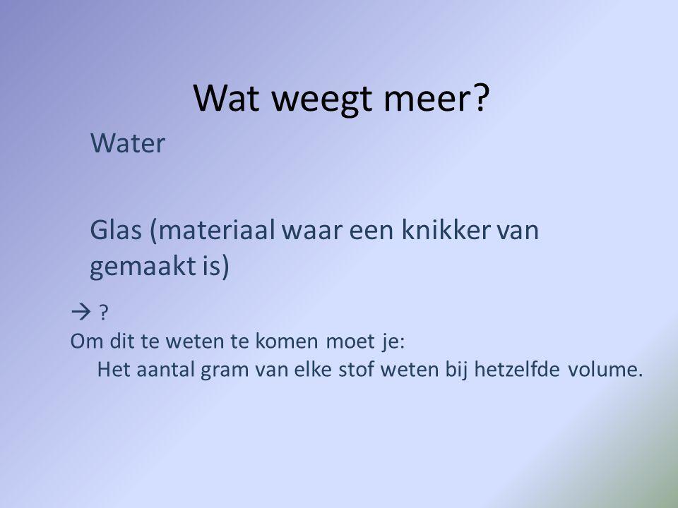 Wat weegt meer? Water Glas (materiaal waar een knikker van gemaakt is)  ? Om dit te weten te komen moet je: Het aantal gram van elke stof weten bij h