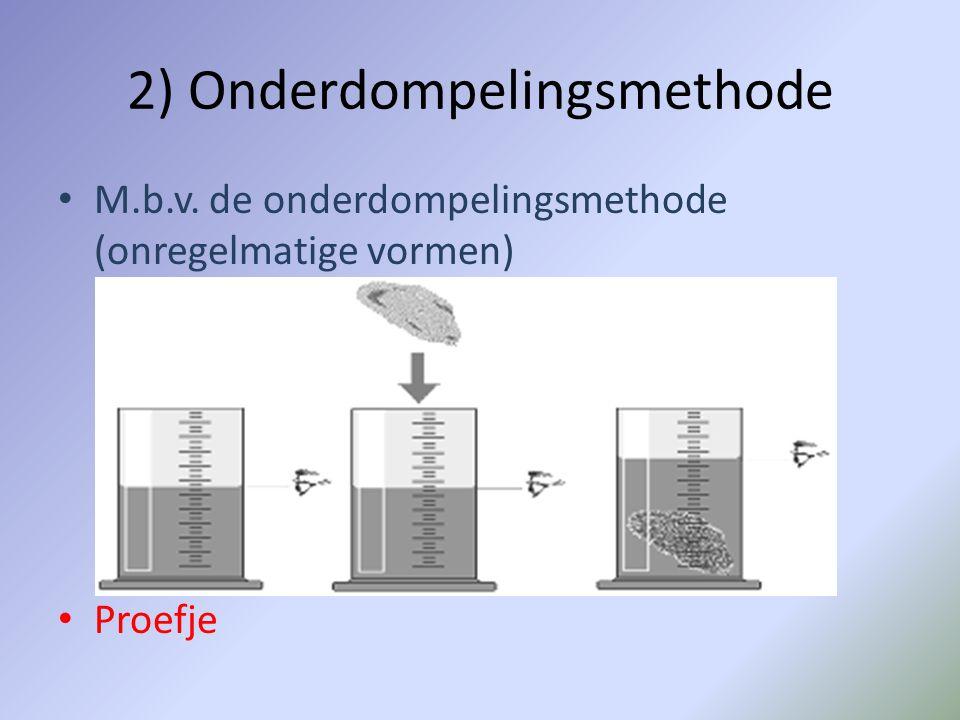 2) Onderdompelingsmethode M.b.v. de onderdompelingsmethode (onregelmatige vormen) Proefje