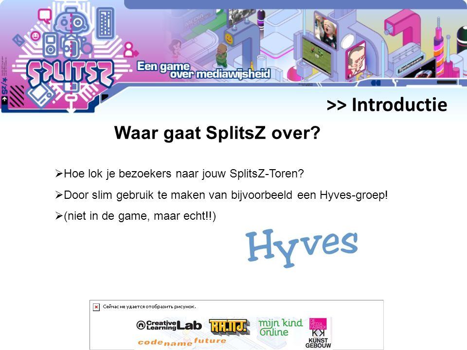 >> Introductie Waar gaat SplitsZ over.  Hoe lok je bezoekers naar jouw SplitsZ-Toren.