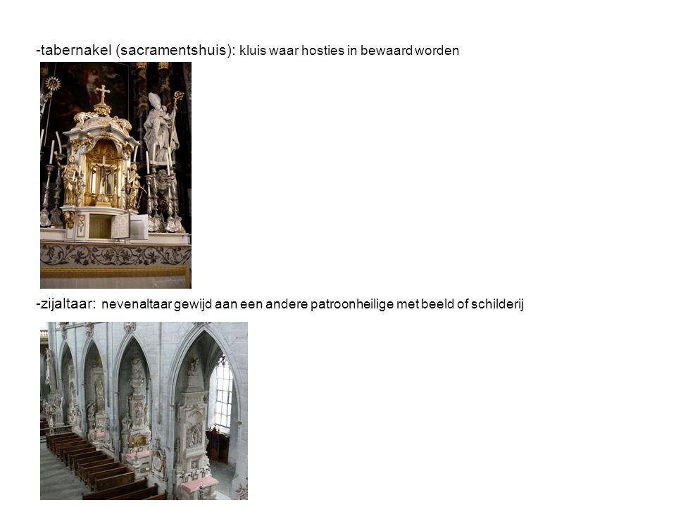 Kerkorgel:  achteraan de kerk  meestal hoger gelegen boven de inkom