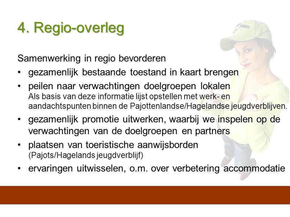 4. Regio-overleg Samenwerking in regio bevorderen gezamenlijk bestaande toestand in kaart brengen peilen naar verwachtingen doelgroepen lokalen Als ba