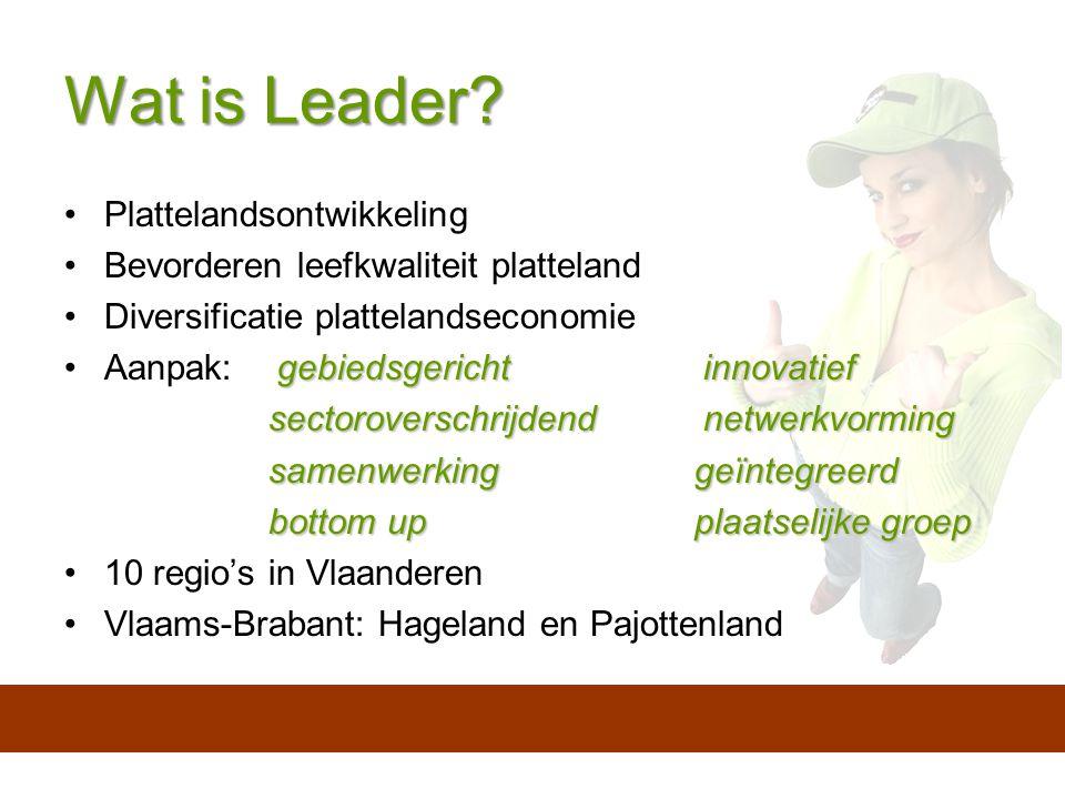 Wat is Leader? Plattelandsontwikkeling Bevorderen leefkwaliteit platteland Diversificatie plattelandseconomie gebiedsgerichtinnovatiefAanpak: gebiedsg