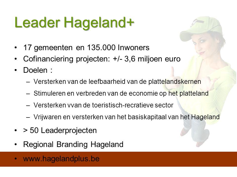Leader Hageland+ 17 gemeenten en 135.000 Inwoners Cofinanciering projecten: +/- 3,6 miljoen euro Doelen : –Versterken van de leefbaarheid van de plattelandskernen –Stimuleren en verbreden van de economie op het platteland –Versterken vvan de toeristisch-recratieve sector –Vrijwaren en versterken van het basiskapitaal van het Hageland > 50 Leaderprojecten Regional Branding Hageland www.hagelandplus.be
