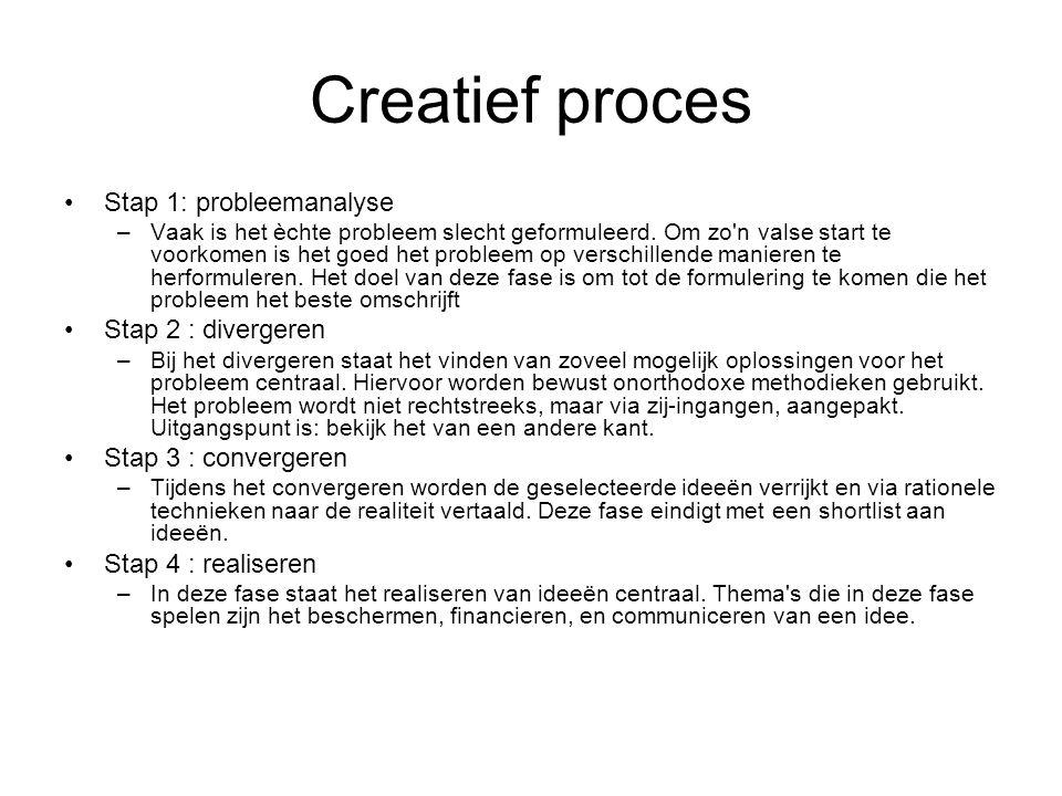 Creatief proces Stap 1: probleemanalyse –Vaak is het èchte probleem slecht geformuleerd. Om zo'n valse start te voorkomen is het goed het probleem op