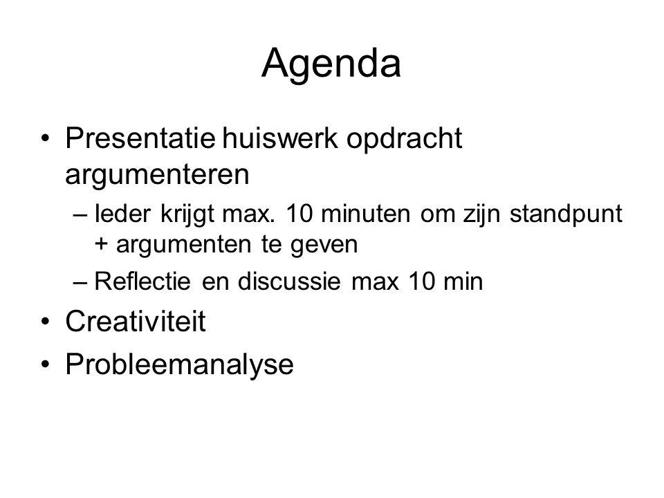Agenda Presentatie huiswerk opdracht argumenteren –Ieder krijgt max. 10 minuten om zijn standpunt + argumenten te geven –Reflectie en discussie max 10