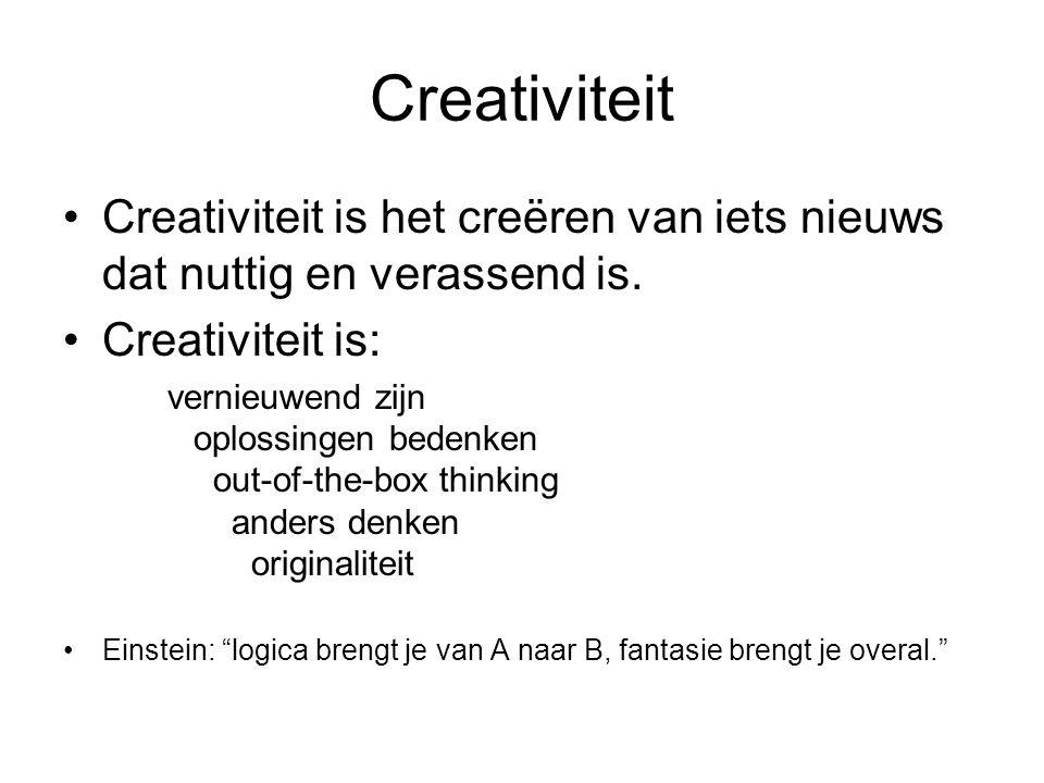 Creativiteit Creativiteit is het creëren van iets nieuws dat nuttig en verassend is. Creativiteit is: vernieuwend zijn oplossingen bedenken out-of-the