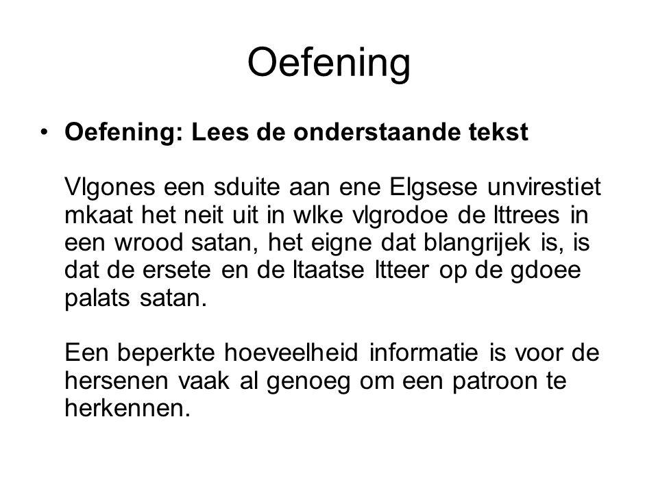 Oefening Oefening: Lees de onderstaande tekst Vlgones een sduite aan ene Elgsese unvirestiet mkaat het neit uit in wlke vlgrodoe de lttrees in een wro