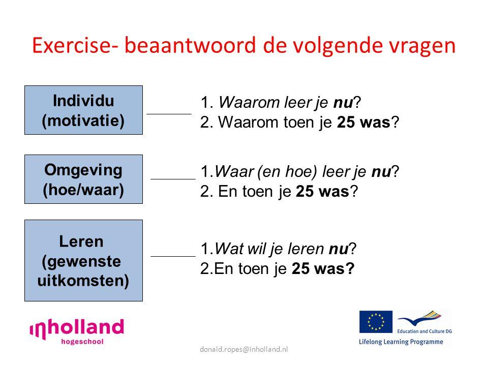donald.ropes@inholland.nl Exercise- beaantwoord de volgende vragen Individu (motivatie) Omgeving (hoe/waar) Leren (gewenste uitkomsten) 1.