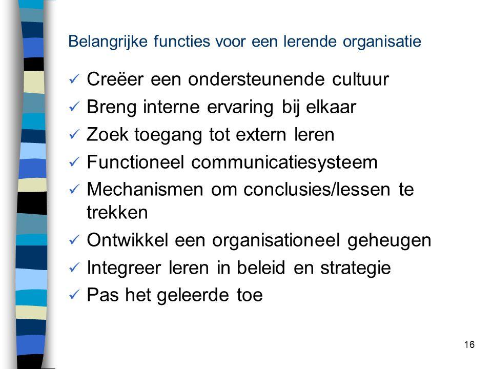 16 Belangrijke functies voor een lerende organisatie Creëer een ondersteunende cultuur Breng interne ervaring bij elkaar Zoek toegang tot extern leren