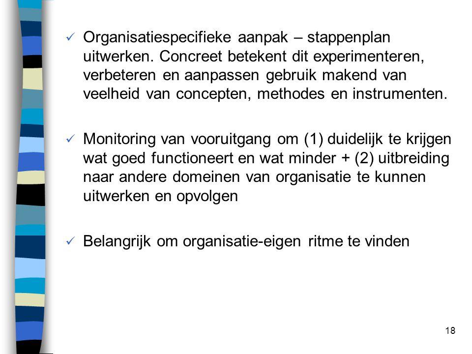 18 Organisatiespecifieke aanpak – stappenplan uitwerken.