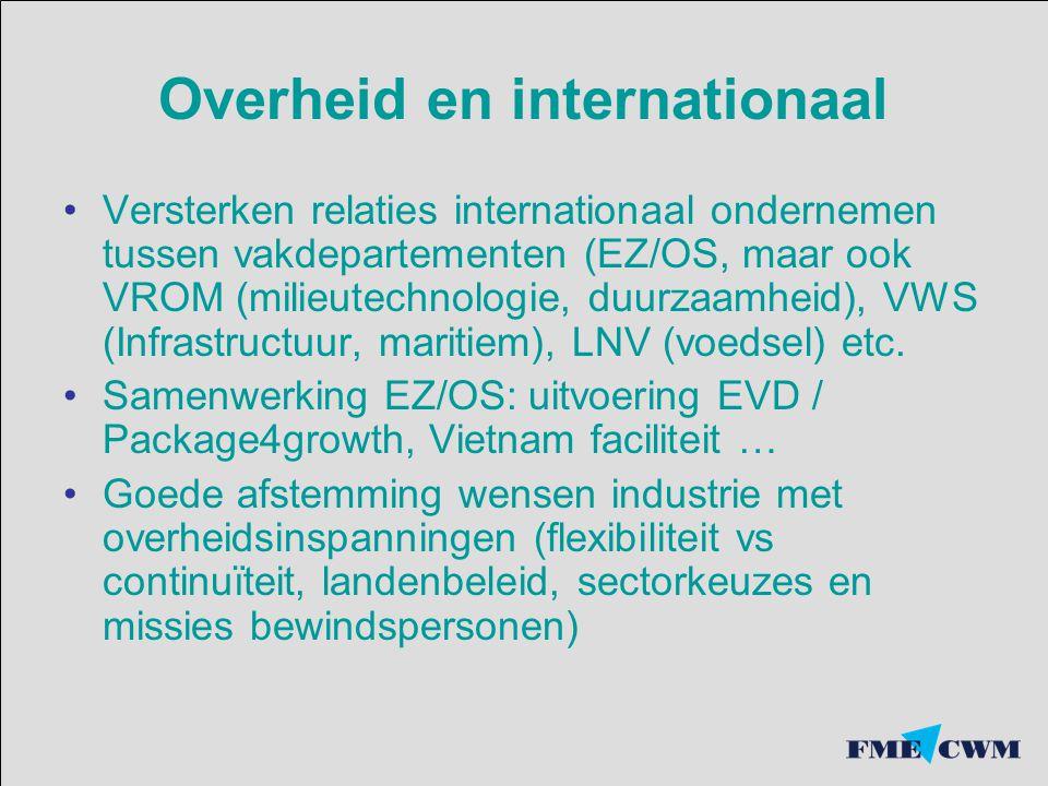 Overheid en internationaal Versterken relaties internationaal ondernemen tussen vakdepartementen (EZ/OS, maar ook VROM (milieutechnologie, duurzaamhei