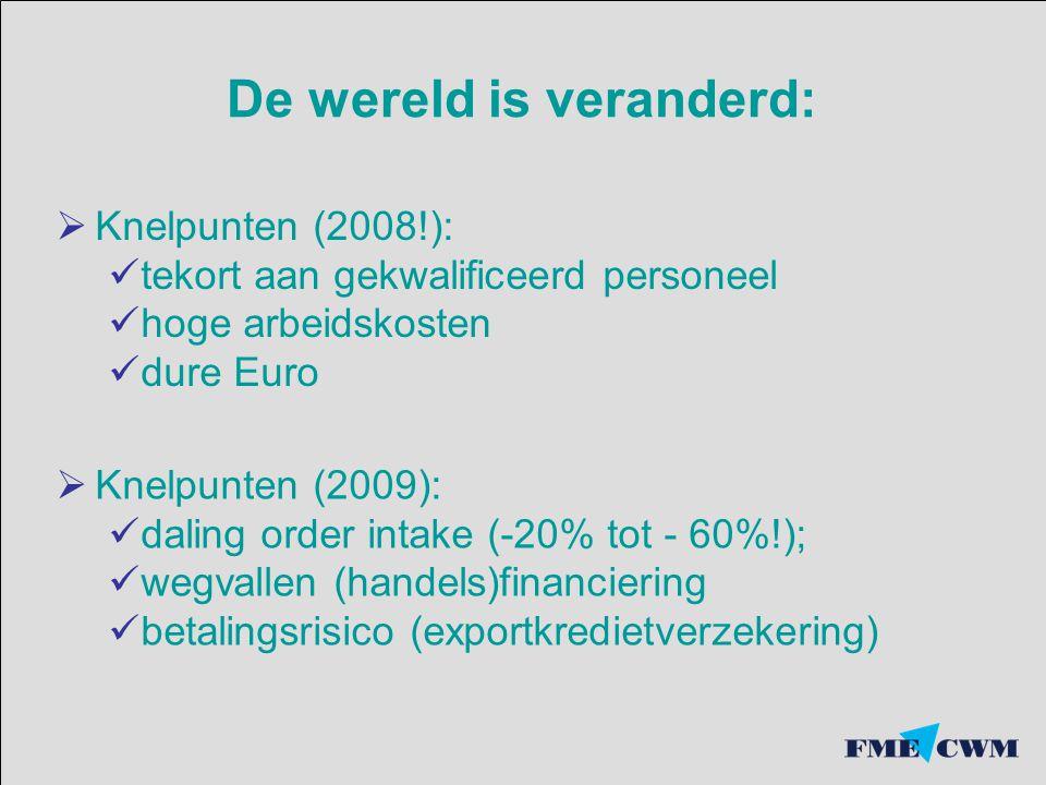 De wereld is veranderd:  Knelpunten (2008!): tekort aan gekwalificeerd personeel hoge arbeidskosten dure Euro  Knelpunten (2009): daling order intak