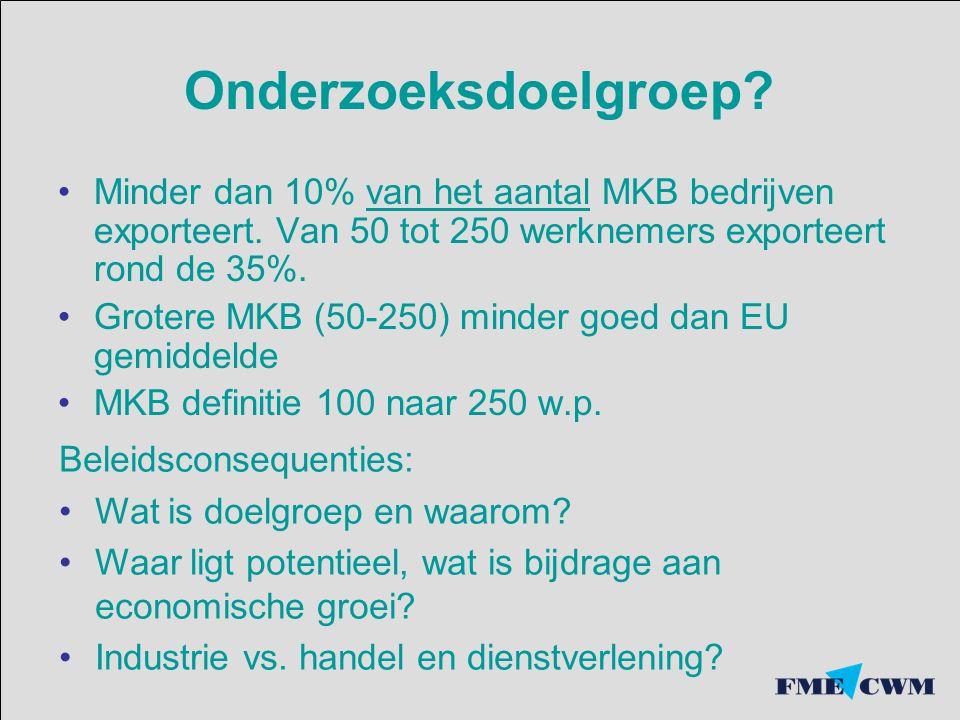 Onderzoeksdoelgroep? Minder dan 10% van het aantal MKB bedrijven exporteert. Van 50 tot 250 werknemers exporteert rond de 35%. Grotere MKB (50-250) mi