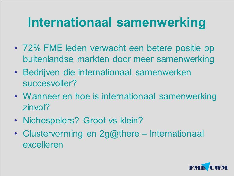Internationaal samenwerking 72% FME leden verwacht een betere positie op buitenlandse markten door meer samenwerking Bedrijven die internationaal same