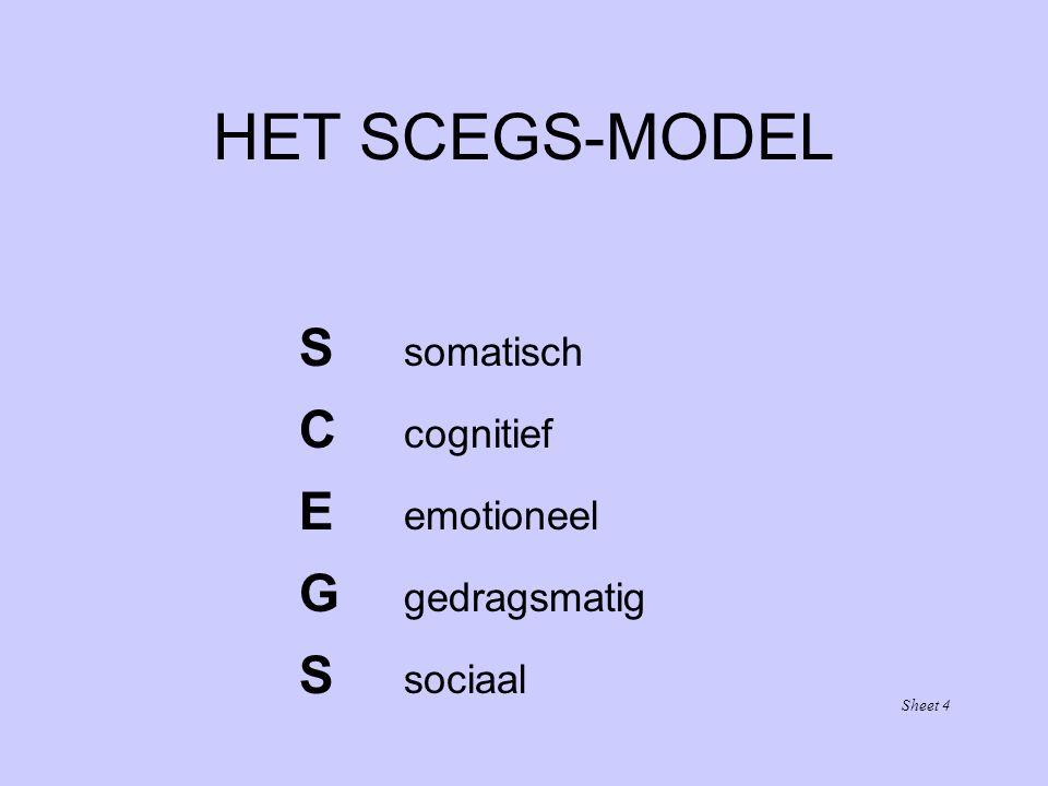 HET SCEGS-MODEL S somatisch C cognitief E emotioneel G gedragsmatig S sociaal Sheet 4