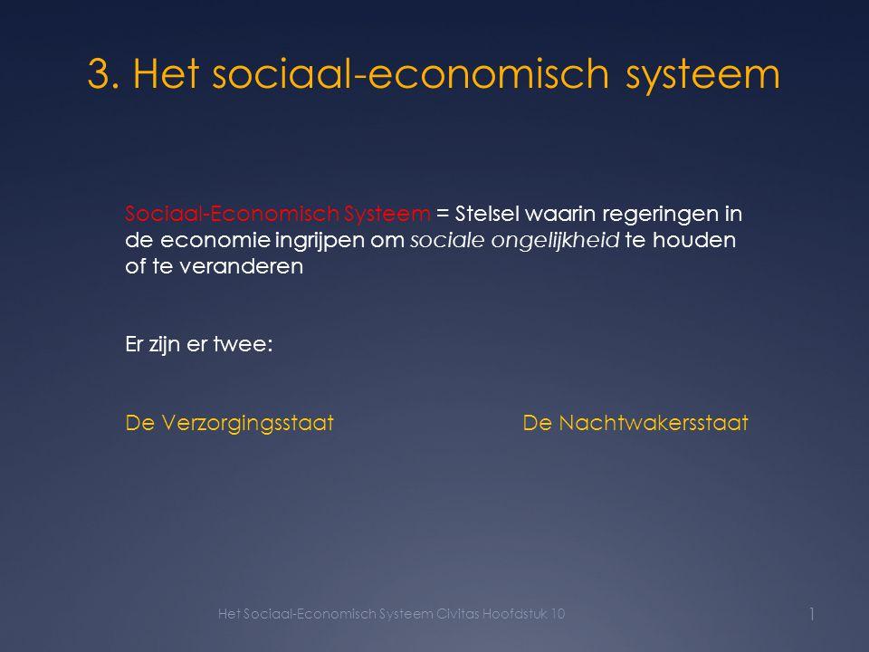 3. Het sociaal-economisch systeem Het Sociaal-Economisch Systeem Civitas Hoofdstuk 10 1 Sociaal-Economisch Systeem = Stelsel waarin regeringen in de e