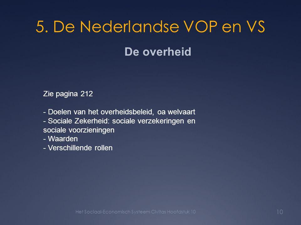 5. De Nederlandse VOP en VS Het Sociaal-Economisch Systeem Civitas Hoofdstuk 10 10 De overheid Zie pagina 212 - Doelen van het overheidsbeleid, oa wel