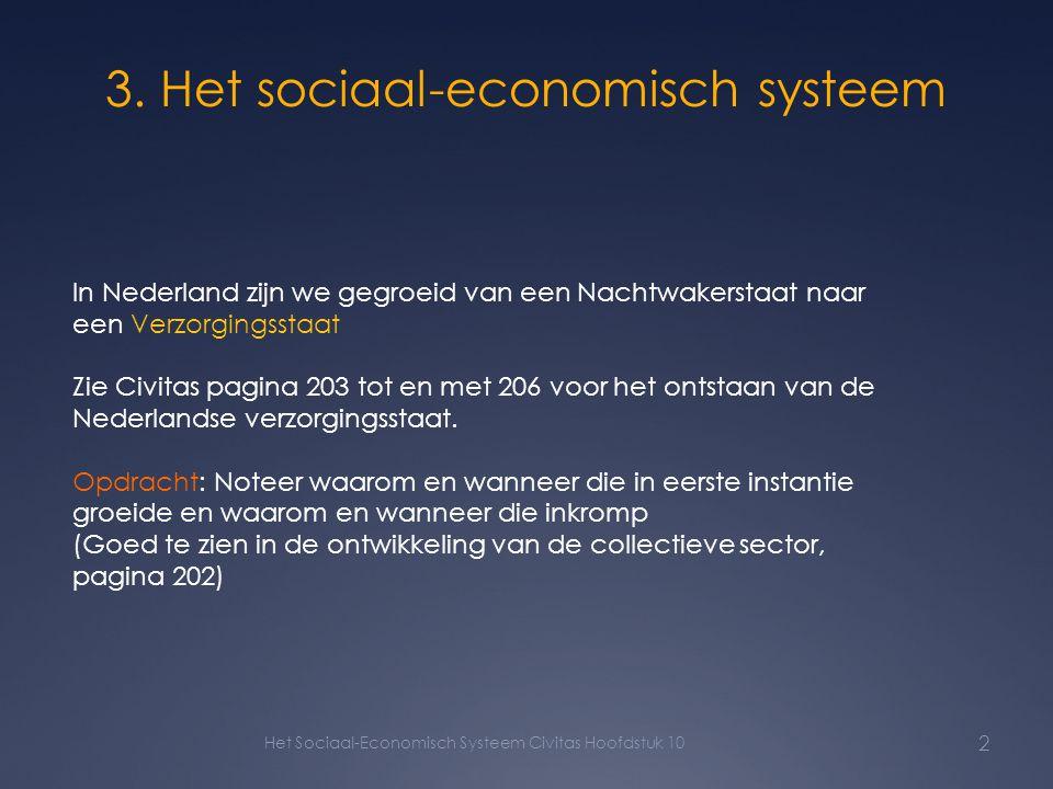 3. Het sociaal-economisch systeem Het Sociaal-Economisch Systeem Civitas Hoofdstuk 10 2 In Nederland zijn we gegroeid van een Nachtwakerstaat naar een
