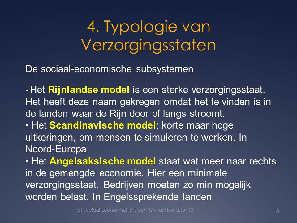 4. Typologie van Verzorgingsstaten Het Sociaal-Economisch Systeem Civitas Hoofdstuk 10 5 De sociaal-economische subsystemen Het Rijnlandse model is ee